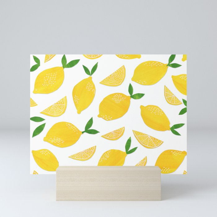 Lemon Cut Out Pattern Mini Art Print