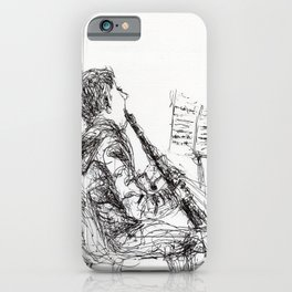 Boy with clarinet iPhone Case