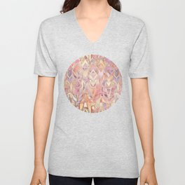 Glowing Coral and Amethyst Art Deco Pattern Unisex V-Neck