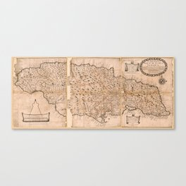 Map of the Island of Jamaica (1684) Canvas Print