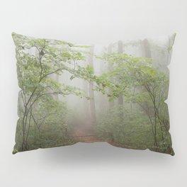 Adventure Ahead - Foggy Forest Digital Nature Photography Pillow Sham