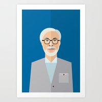 miyazaki Art Prints featuring Hayao Miyazaki by monscribbles