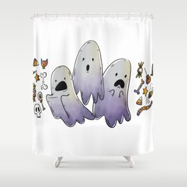 Scared Ghosts with Halloween Candy Shower Curtain