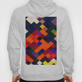 geometric square pixel pattern abstract in orange brown blue yellow Hoody