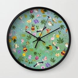 Flamingo Pineapple Pot Wall Clock