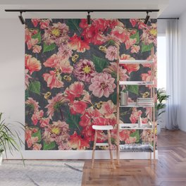 Vintage Flowers and Bees Wall Mural