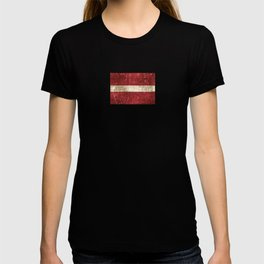 Vintage Aged and Scratched Latvian Flag T-shirt