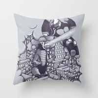 kaiju Throw Pillows featuring Lucha Kaiju by Jonah Makes Artstuff