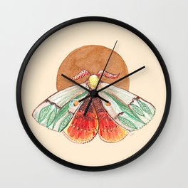 Green Moth and the Ochre Sun_Intuitive Spirit Animal Totem_watercolor Wall Clock