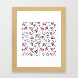 Gray pink watercolor modern leaves floral Framed Art Print