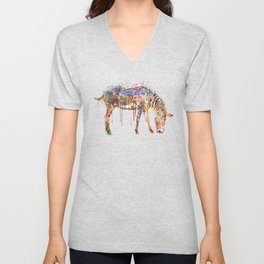 Zebra watercolor painting Unisex V-Neck