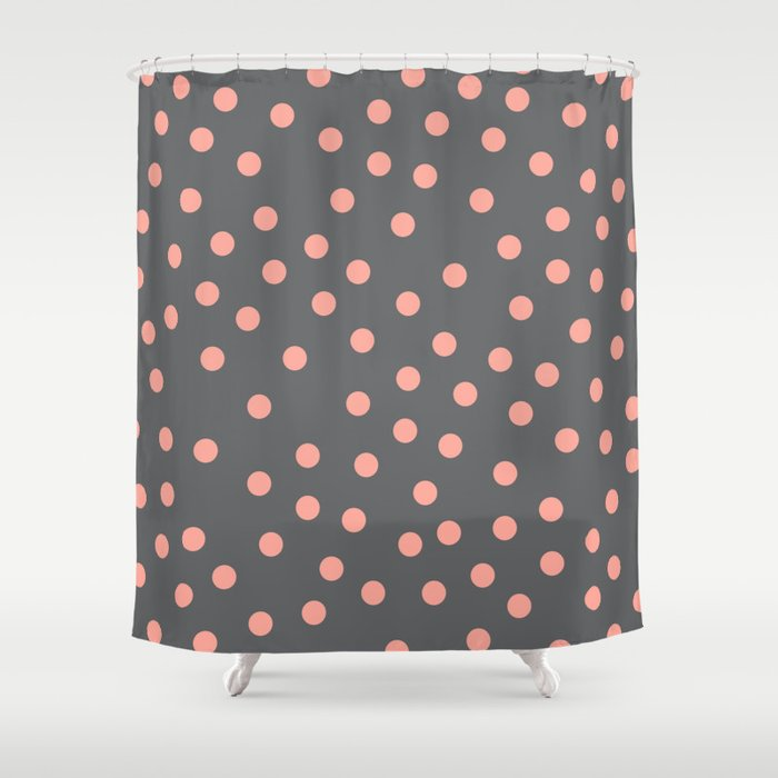 Simply Dots Salmon Pink On Storm Gray Shower Curtain