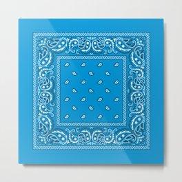 Bandana - Paisley - Blue - White Metal Print