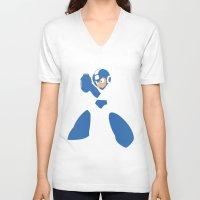 mega man V-neck T-shirts featuring Mega Man - Minimalist - Nintendo by Adrian Mentus