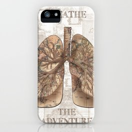 breathe the adventure-world map 1 iPhone Case