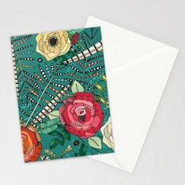 boho winter floral teal Stationery Cards