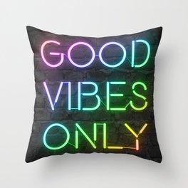 Neon Good Vibes - Rainbow Throw Pillow