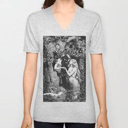 The Nymph Caught the Dryad in Her Arms - HR Millar (1904) Unisex V-Neck