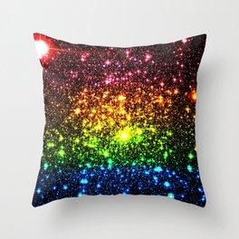 Rainbow Sparkle Galaxy Stars Throw Pillow