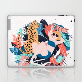 Yellow Hair Tropical Girl with Cheetah Laptop & iPad Skin