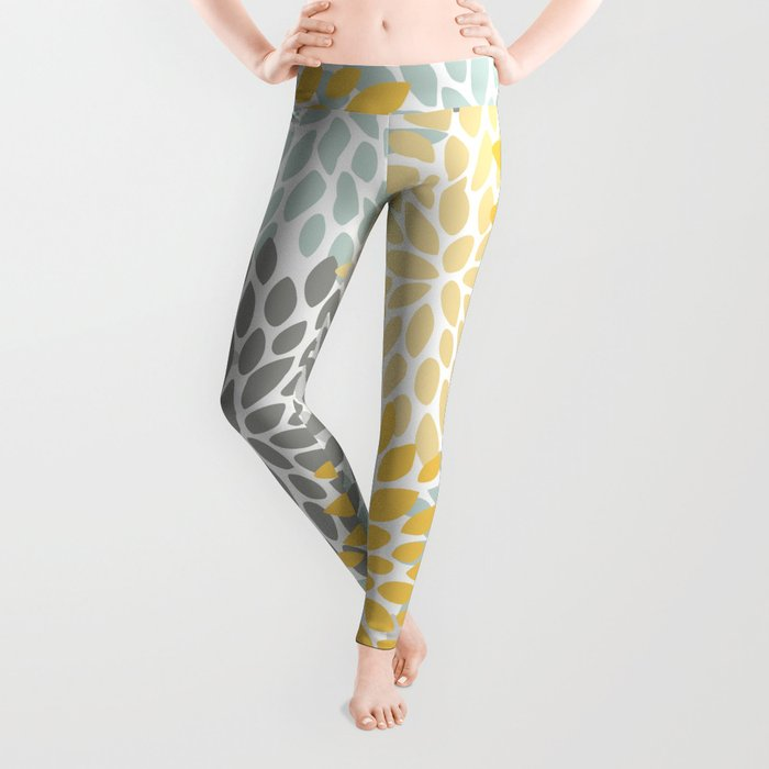 Floral Pattern, Yellow, Pale, Aqua, Blue and Gray Leggings