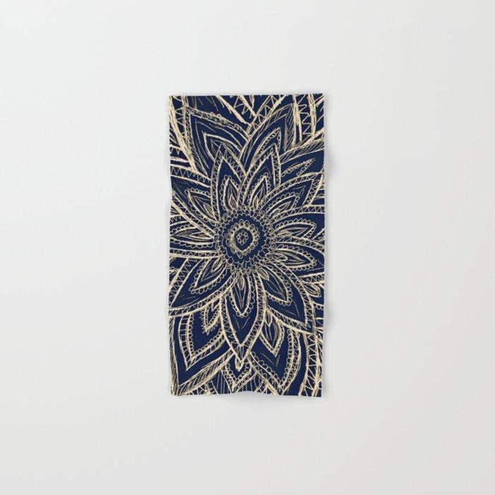 Cute Retro Gold abstract Flower Drawing  geometric Hand & Bath Towel