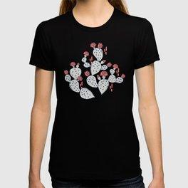 Coral Flowering Cactus on Mustard Yellow T-shirt