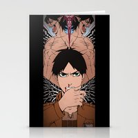 shingeki no kyojin Stationery Cards featuring Shingeki no Kyojin - Eren card by kamikaze43v3r