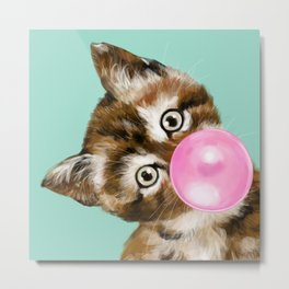 Bubble Gum Baby Cat in Green Metal Print