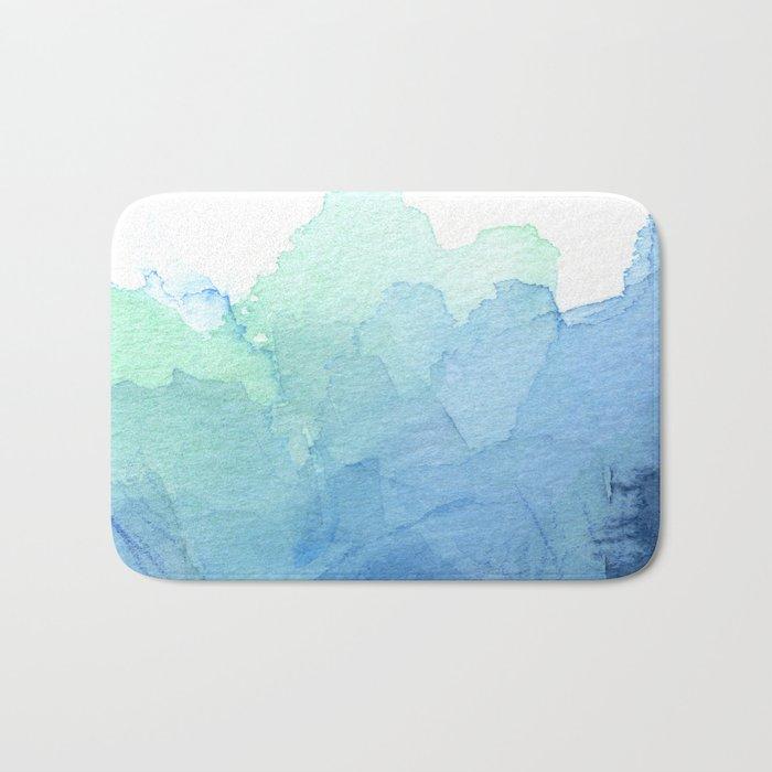 Abstract Watercolor Texture Blue Green Sea Sky Colors Bath Mat