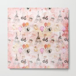 Paris Love Valentine Vintage Eiffeltower Perfume Pattern in pink Metal Print
