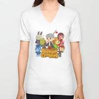 persona V-neck T-shirts featuring Persona Crossing by Cassie S