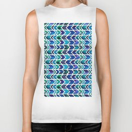 Turquoise and Green Aztec Pattern. Biker Tank