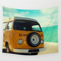 vw bus Wall Tapestries featuring VW Yellow Bus Vintage Happy Life by Happy Someone