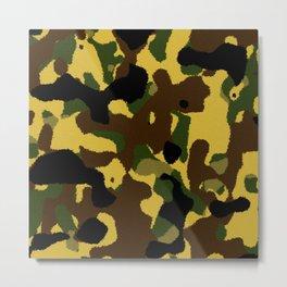 Abstract brown green black camo pattern Metal Print
