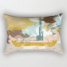 Suspicious Actions, Abstract Landscape Art Rectangular Pillow