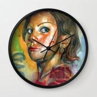 ahs Wall Clocks featuring AHS Hotel-LadyGaga as Young Elizabeth by Abhivision