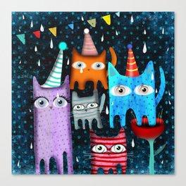 Raining Night Cats Party Canvas Print