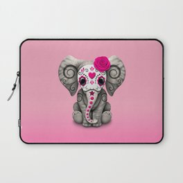 Pink Day of the Dead Sugar Skull Baby Elephant Laptop Sleeve