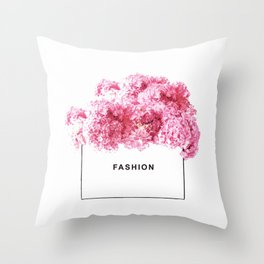 Fashion, Flowers, Pink, Modern, Minimal, Interior, Wall art Throw Pillow