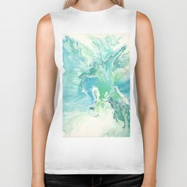 Breathe Blue Abstract Print Biker Tank