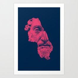 MARCUS AURELIUS ANTONINUS AUGUSTUS / prussian blue / vivid red Art Print