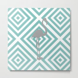 Flamingo - Abstract geometric pattern - blue and white. Metal Print
