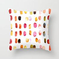aelwen Throw Pillows featuring strokes of colors by clemm