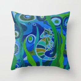 Seahorse Sea tote Throw Pillow