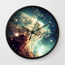 Monkey Head Nebula. Dreamy Teal Wall Clock