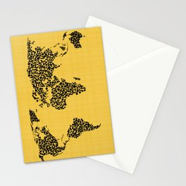 Yellow world map Stationery Cards