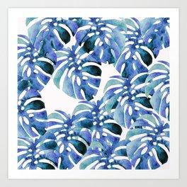 Monstera Pattern Blue Art Print