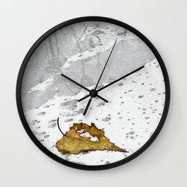 Leaf in Rain Wall Clock