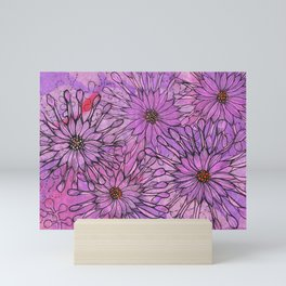 African Daisy, Pink Flowers, Floral Art Mini Art Print